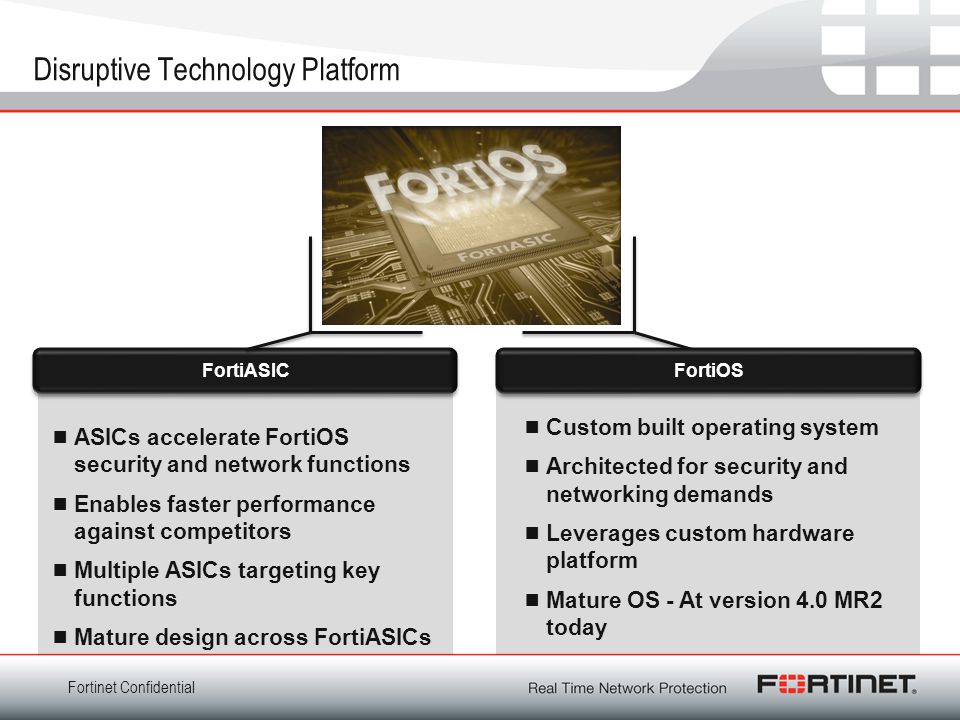 Fortinet Confidential Disruptive Technology Platform  ASICs accelerate FortiOS security and network functions  Enables faster performance against co