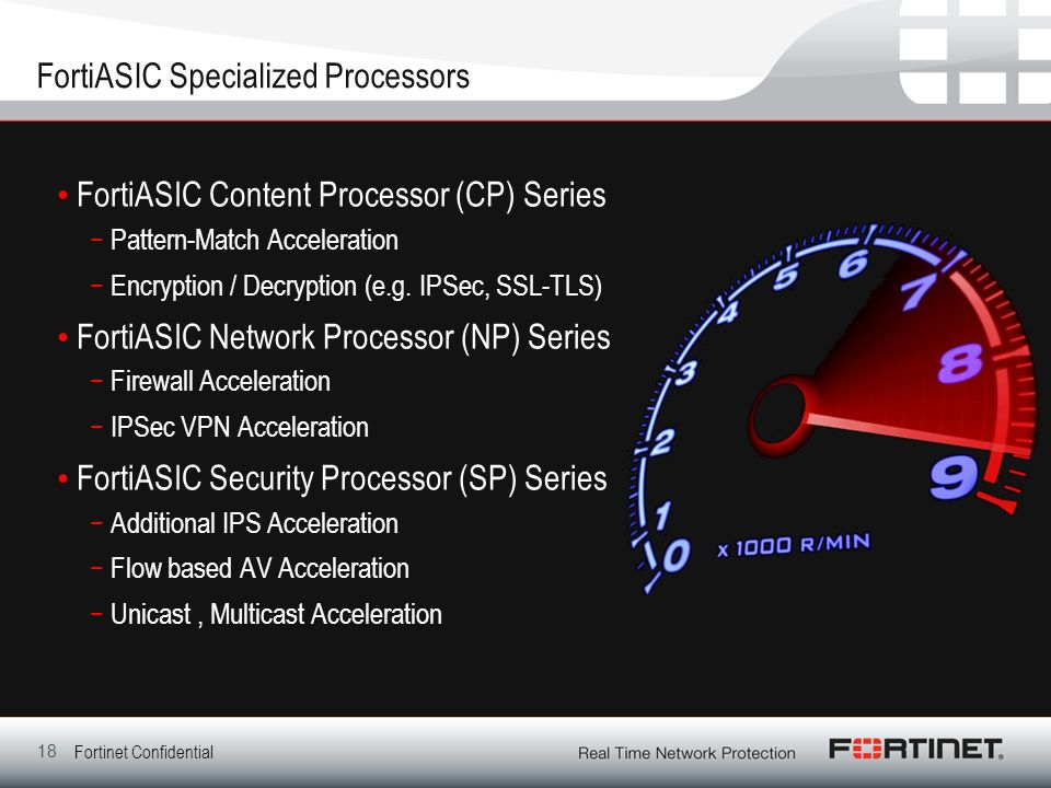 Fortinet Confidential FortiASIC Specialized Processors FortiASIC Content Processor (CP) Series −Pattern-Match Acceleration −Encryption / Decryption (e.g.