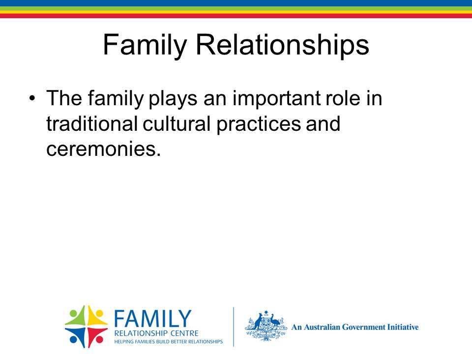 Family Relationships The family plays an important role in traditional cultural practices and ceremonies.