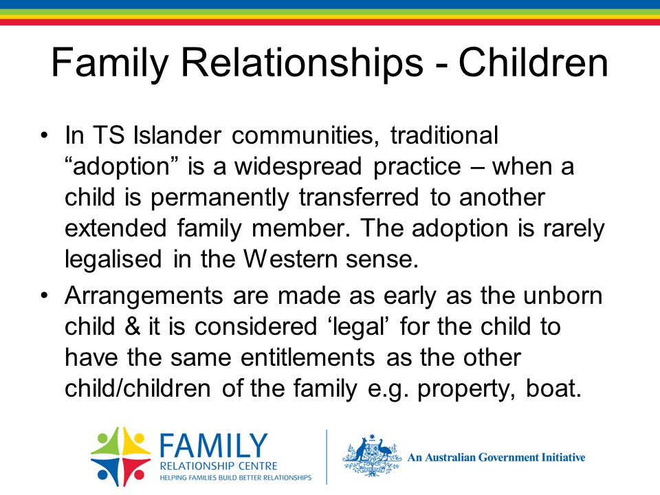 Family Relationships - Children The whole family may be involved in making the decision of who raises the child.