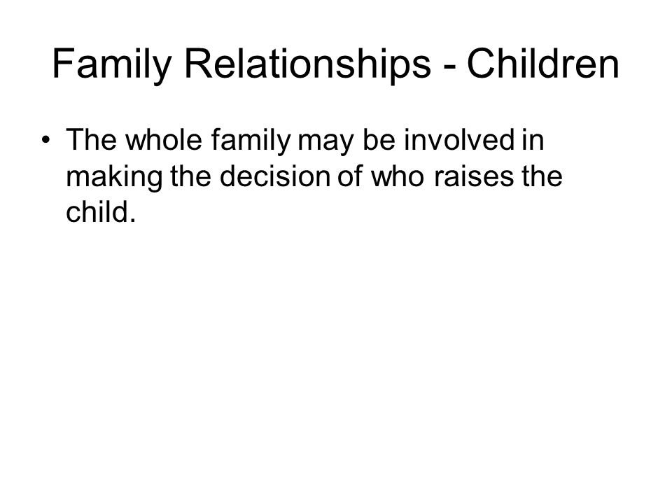 Family Relationships - Marriage May not adhere to the Christian concept of marriage.