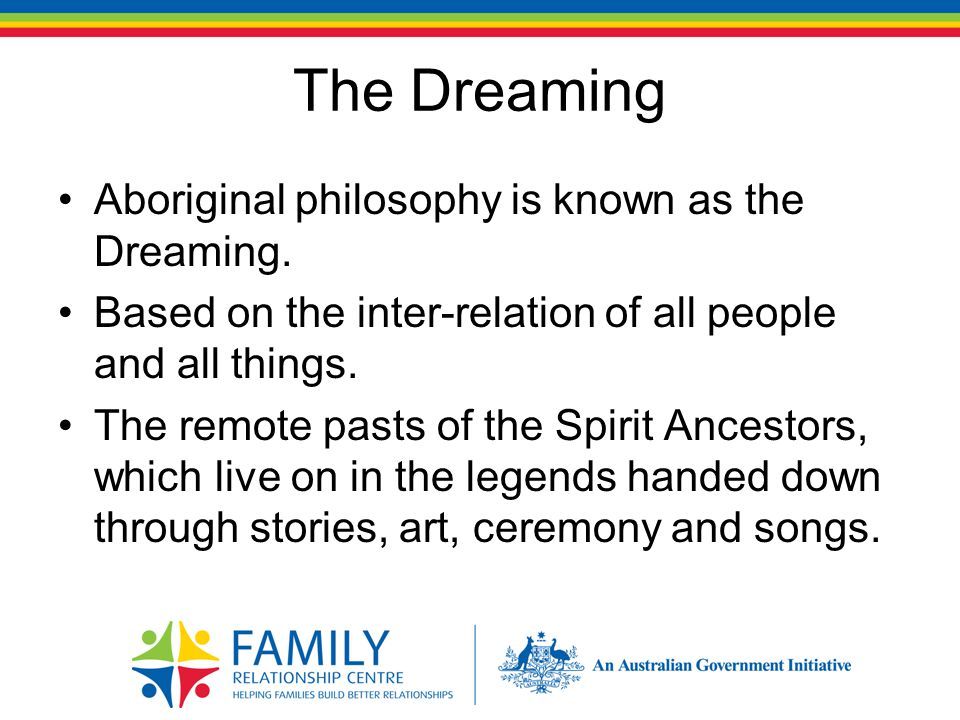 The Dreaming Aboriginal philosophy is known as the Dreaming.