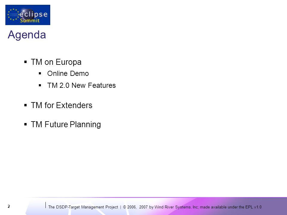 The DSDP-Target Management Project | © 2006, 2007 by Wind River Systems, Inc; made available under the EPL v1.0 23 TM for Enterprise: IBM WebSphere Developer Screenshot © 2007 by IBM; made available under the EPL v1.0