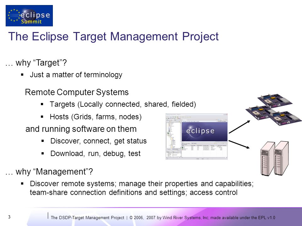 The DSDP-Target Management Project | © 2006, 2007 by Wind River Systems, Inc; made available under the EPL v1.0 24 Using RSE APIs (Example: Creating a Connection) public void run() { String hostName = build.eclipse.org ; //$NON-NLS-1$ ISystemRegistry registry = RSECorePlugin.getDefault().getSystemRegistry(); ISystemProfile profile = registry.getSystemProfileManager().getDefaultPrivateSystemProfile(); IHost host = registry.getHost(profile, hostName); if (host == null) { host = registry.createHost( SSH Only ,//System Type Name hostName,//Connection name hostName,//IP Address Connection to Eclipse build site ); //description } See the EclipseCon 2007 TM Tutorial for more programming examplesEclipseCon 2007 TM Tutorial