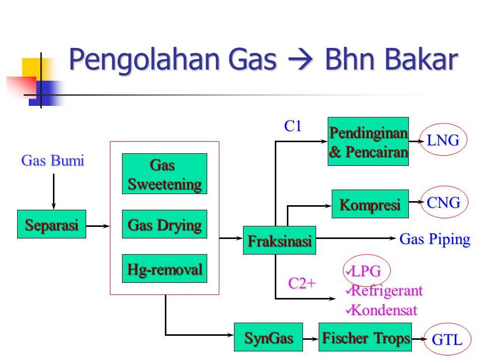 Pengolahan Gas  Bhn Bakar Separasi GasSweetening Gas Drying Hg-removal Fraksinasi Pendinginan & Pencairan Kompresi Gas Bumi LNG CNG Gas Piping C1 C2+