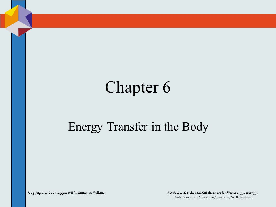 Copyright © 2007 Lippincott Williams & Wilkins.McArdle, Katch, and Katch: Exercise Physiology: Energy, Nutrition, and Human Performance, Sixth Edition Chapter 6 Energy Transfer in the Body