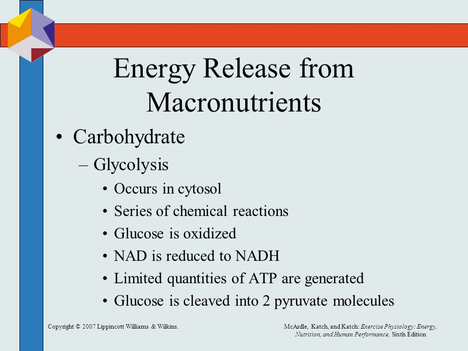 Copyright © 2007 Lippincott Williams & Wilkins.McArdle, Katch, and Katch: Exercise Physiology: Energy, Nutrition, and Human Performance, Sixth Edition Energy Release from Macronutrients Carbohydrate –Glycolysis Occurs in cytosol Series of chemical reactions Glucose is oxidized NAD is reduced to NADH Limited quantities of ATP are generated Glucose is cleaved into 2 pyruvate molecules