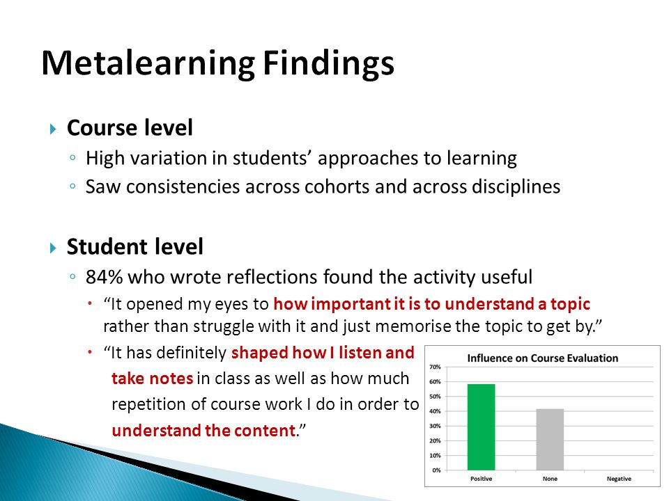  Lessons learned ◦ Need a follow-up visit to class to explain interpretation ◦ Students indicate the activity would serve them best if done in Year 1 or early Year 2 ◦ Encourage academics to support learning strategies focused on understanding rather than memorisation