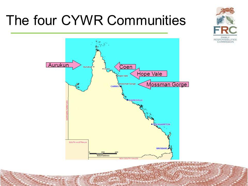The four CYWR Communities Aurukun Hope Vale Mossman Gorge Coen