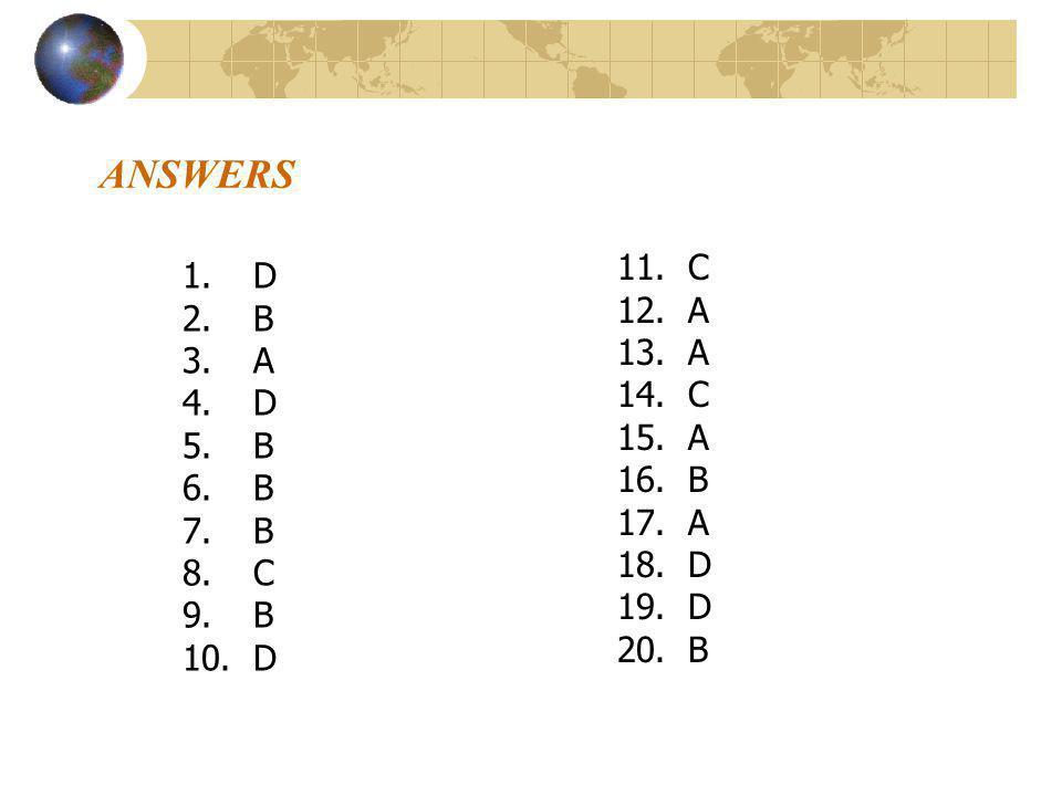 ANSWERS 1.D 2.B 3.A 4.D 5.B 6.B 7.B 8.C 9.B 10.D 11.C 12.A 13.A 14.C 15.A 16.B 17.A 18.D 19.D 20.B