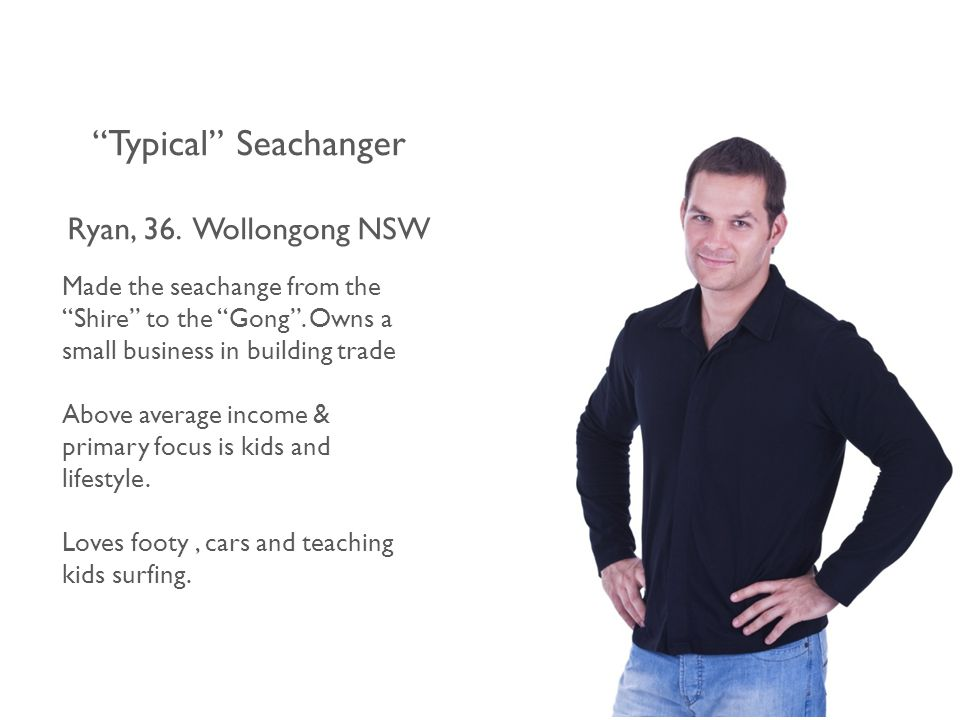 Typical Seachanger Ryan, 36.Wollongong NSW Made the seachange from the Shire to the Gong .