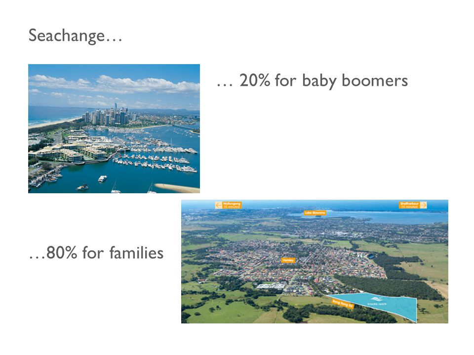 Seachange… … 20% for baby boomers …80% for families