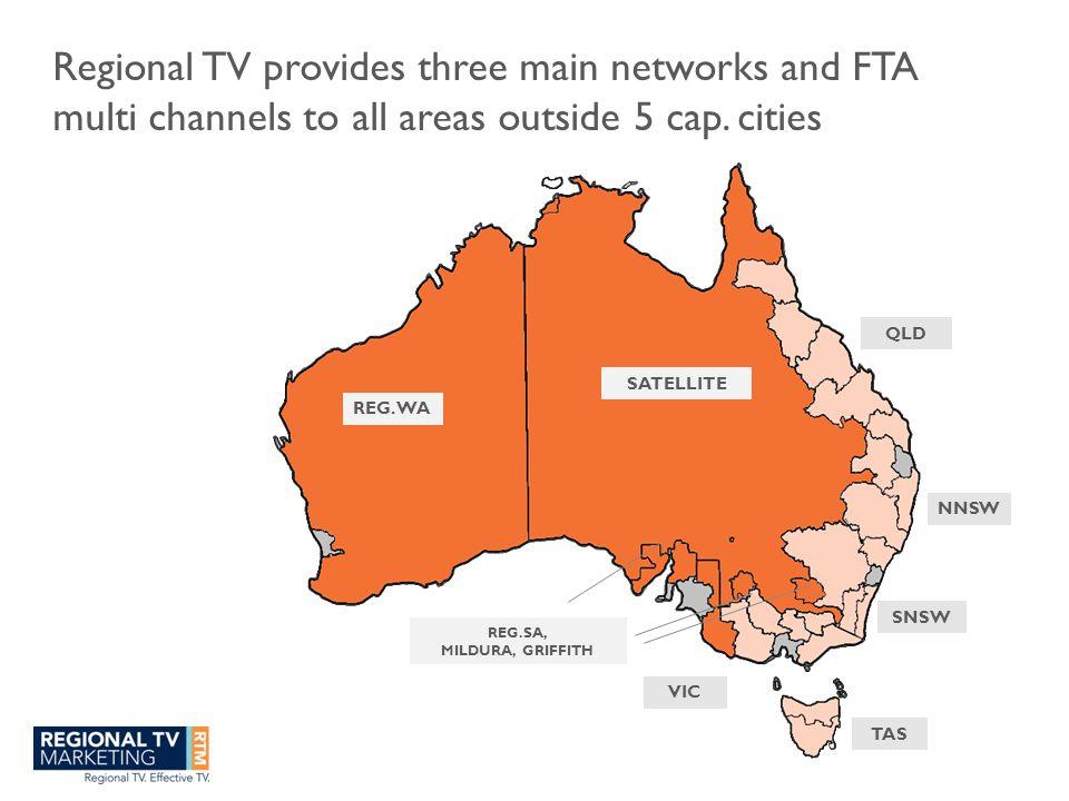 Regional TV markets total 36% of Australian population People Source: ATR & OZTAM 2011, Nielsen Media Research 2010 NNSW 2,079 SNSW 1,410