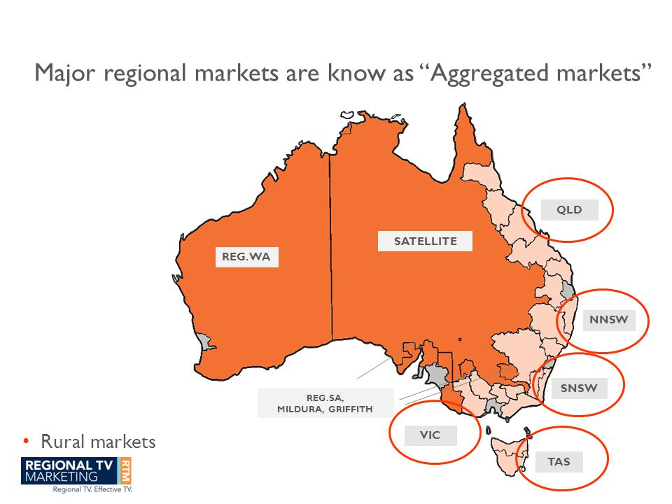 Major regional markets are know as Aggregated markets Rural markets QLD NNSW SNSW TAS VIC REG.SA, MILDURA, GRIFFITH REG.