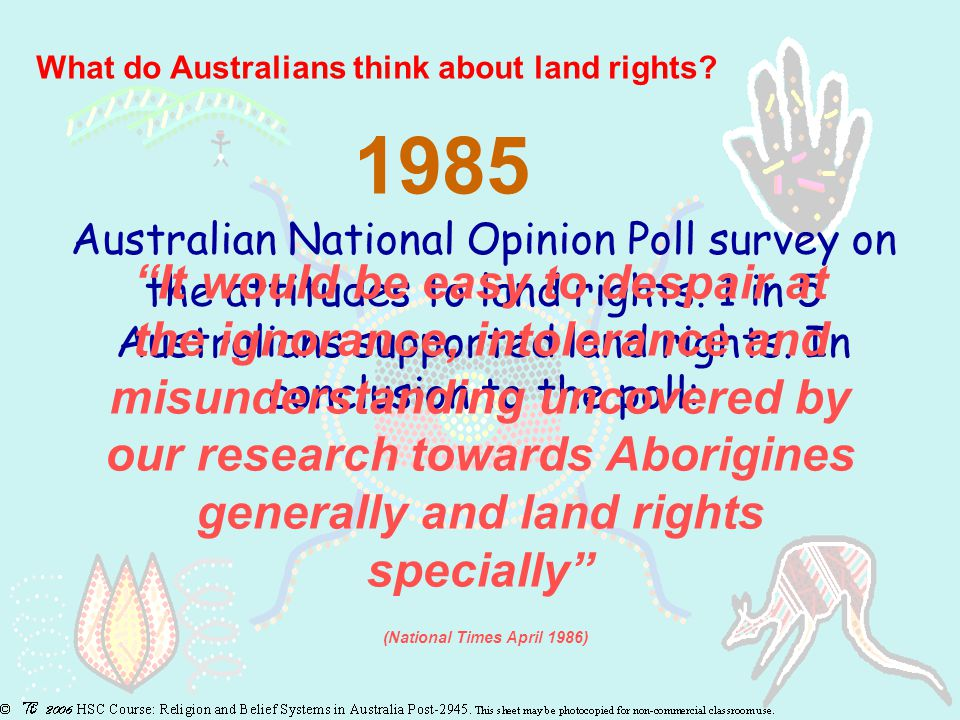 What do Australians think about land rights.