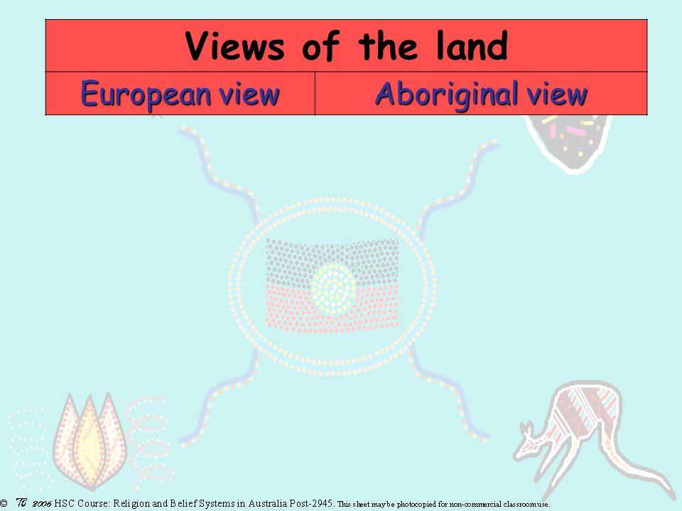 European view Aboriginal view