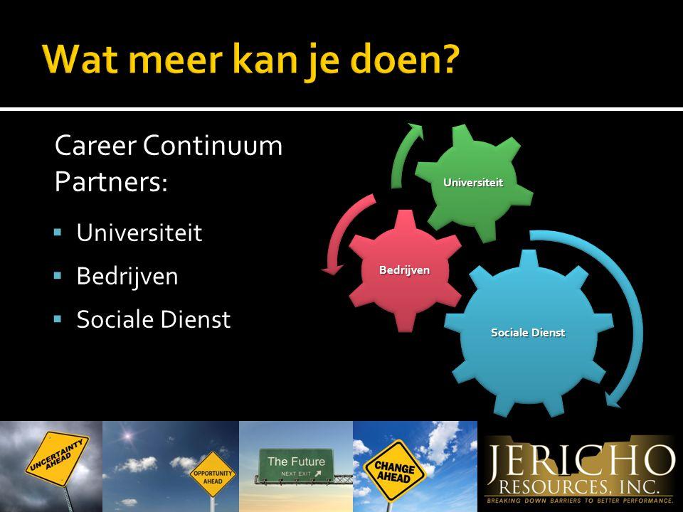 Career Continuum Partners:  Universiteit  Bedrijven  Sociale Dienst