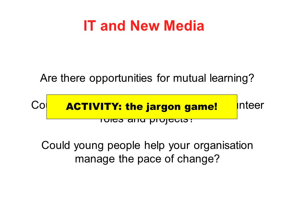 IT and New Media Are there opportunities for mutual learning? Could IT be used in new and creative volunteer roles and projects? Could young people he