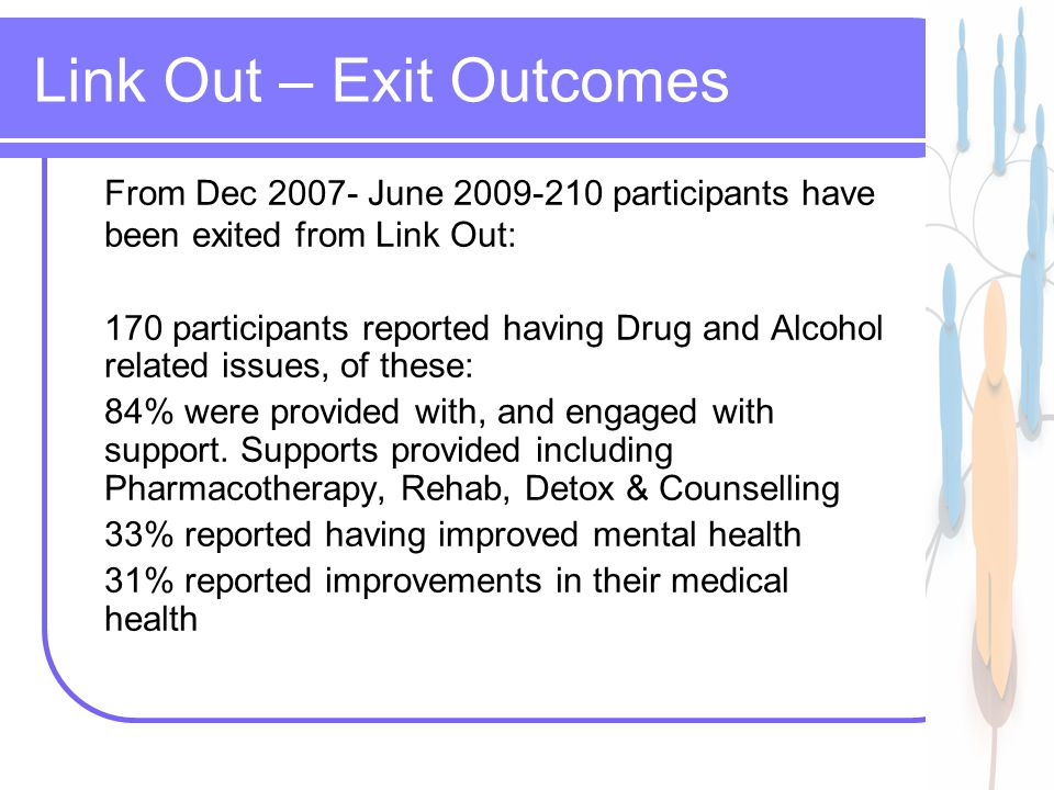 12 Link Out – Exit Outcomes From Dec June participants have been exited from Link Out: 170 participants reported having Drug and Alcohol related issues, of these: 84% were provided with, and engaged with support.