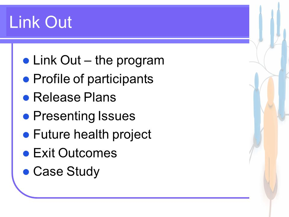 2 Link Out Link Out – the program Profile of participants Release Plans Presenting Issues Future health project Exit Outcomes Case Study