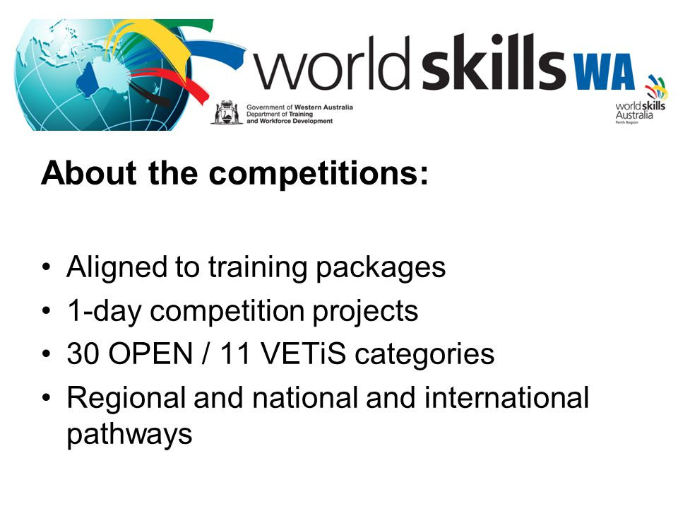 About the competitions: Aligned to training packages 1-day competition projects 30 OPEN / 11 VETiS categories Regional and national and international