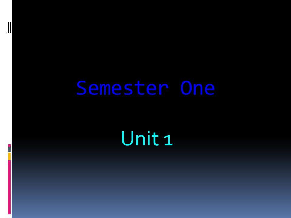 Semester One Unit 1