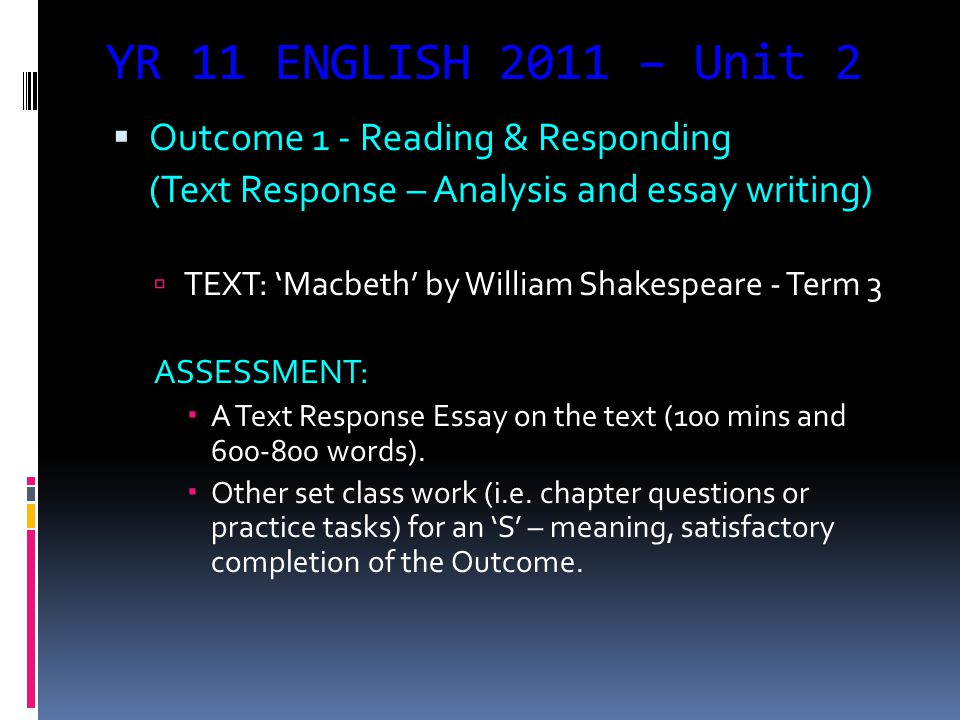 YR 11 ENGLISH 2011 – Unit 2  Outcome 3 – Using Language to Persuade (Issues – Language Analysis and Point of View Piece)  Exploration of an issue that is currently in the media – Terms 3.