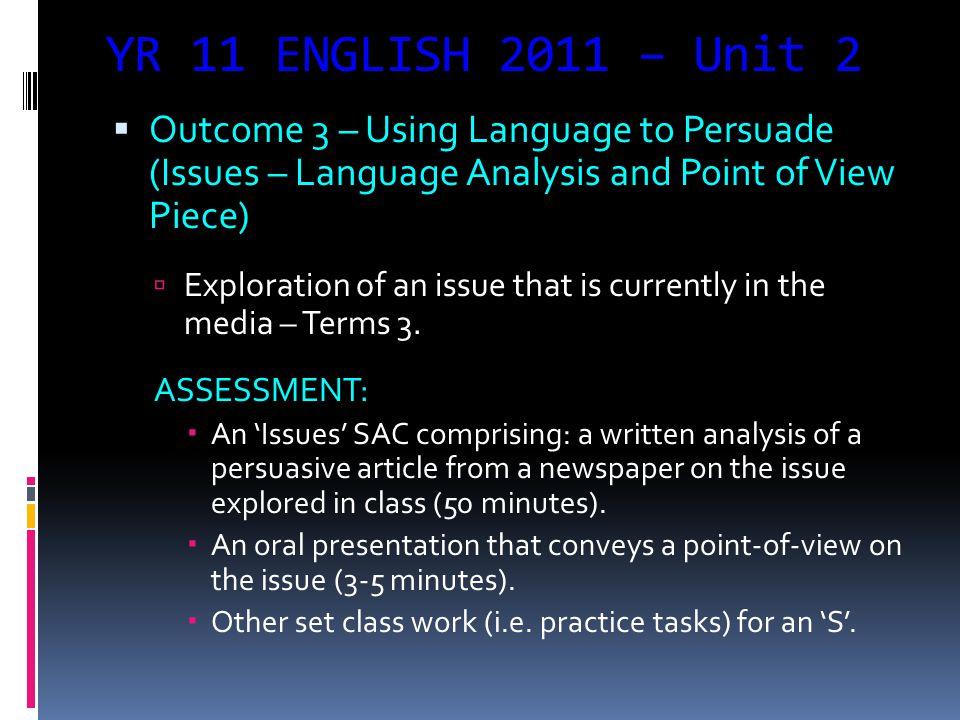 YR 11 ENGLISH 2011 – Unit 2  Outcome 2 – Creating & Presenting (Context Writing Folio).