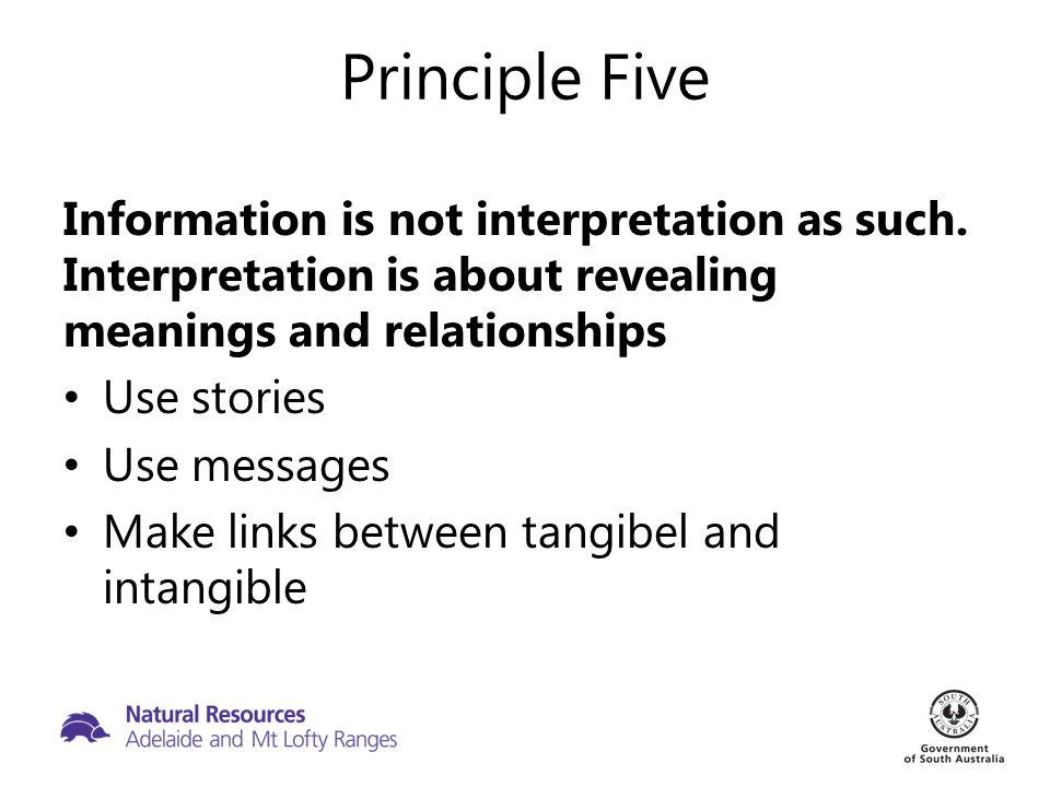 Principle Five Information is not interpretation as such.