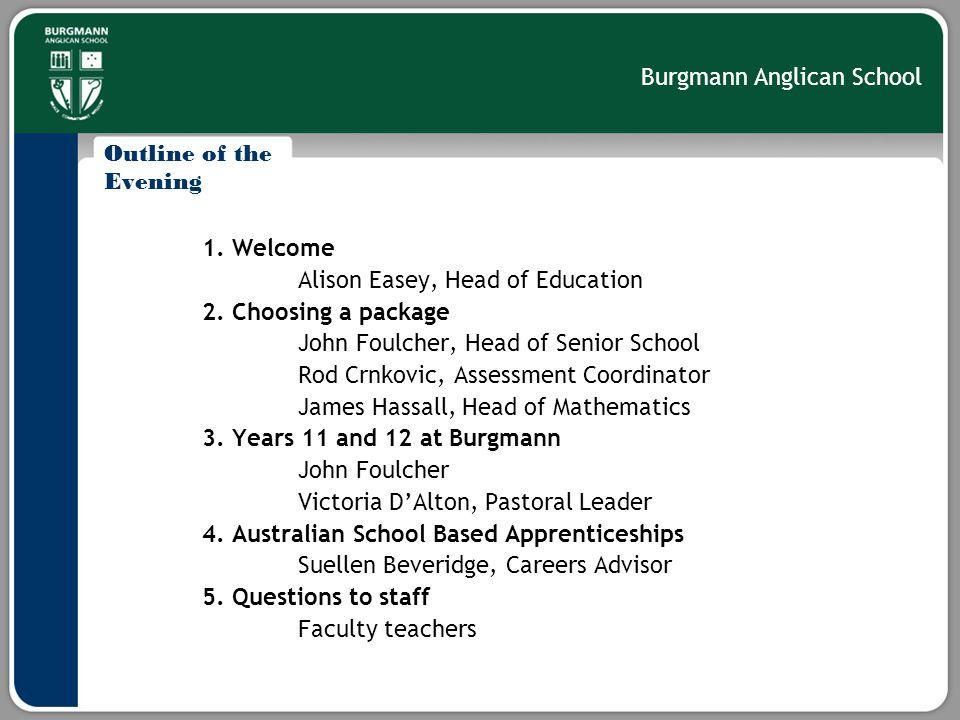 Burgmann Anglican School Choosing a Package