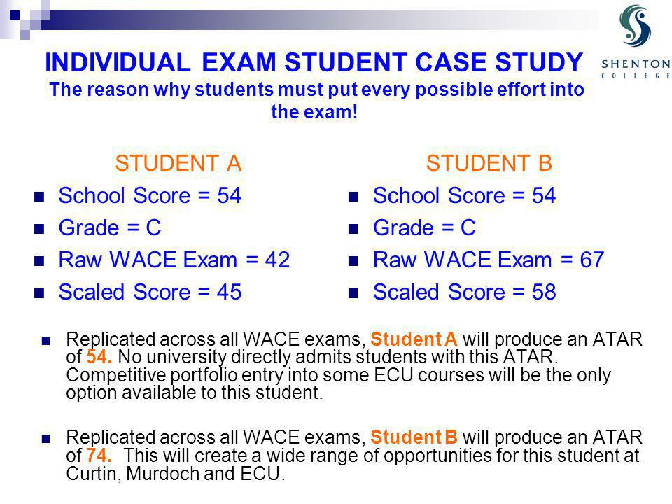 INDIVIDUAL EXAM STUDENT CASE STUDY The reason why students must put every possible effort into the exam.