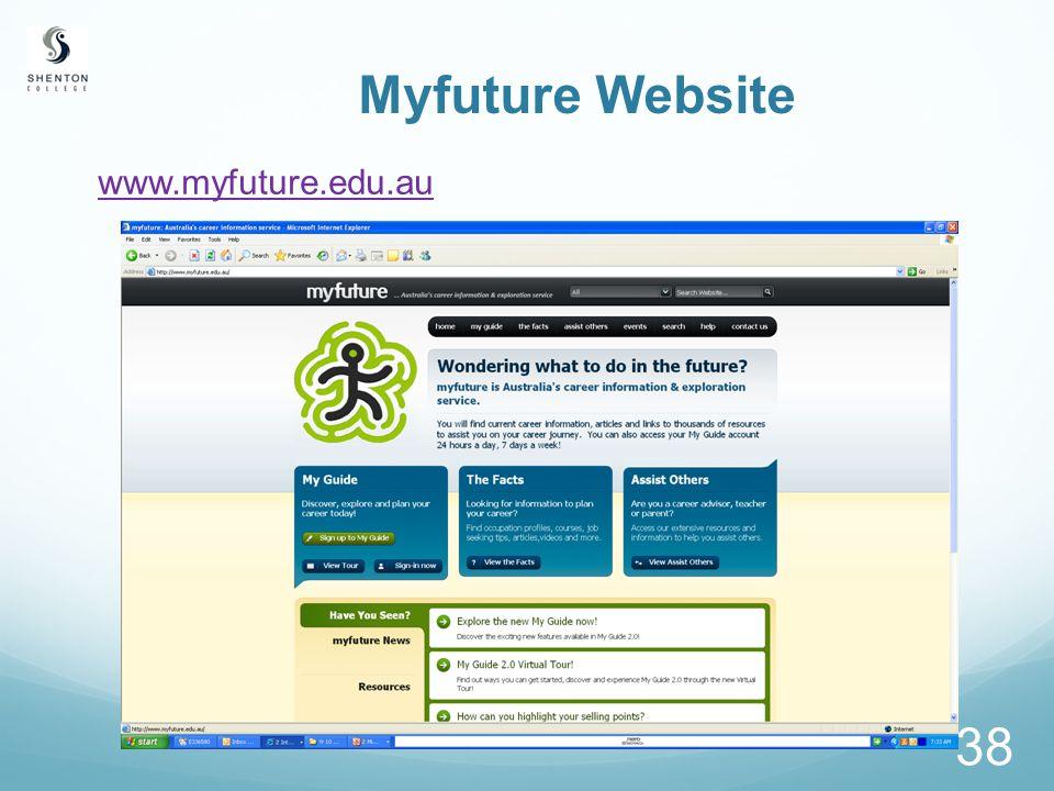 38 Myfuture Website www.myfuture.edu.au