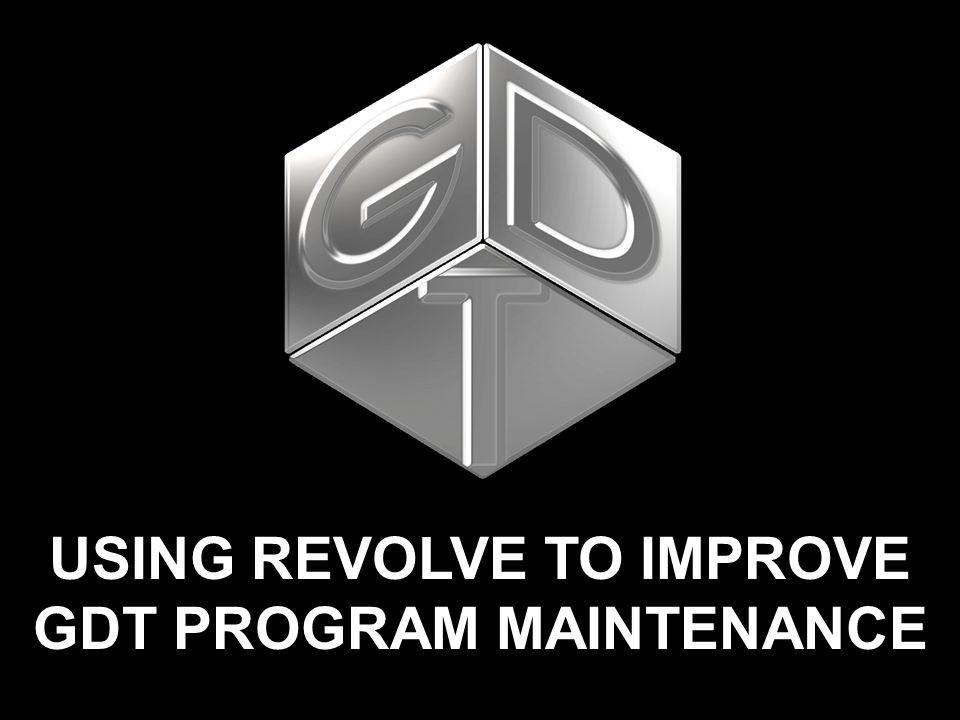 USING REVOLVE TO IMPROVE GDT PROGRAM MAINTENANCE