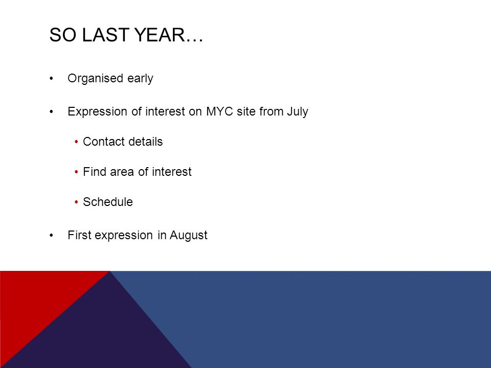 SO LAST YEAR… Organised early Expression of interest on MYC site from July Contact details Find area of interest Schedule First expression in August