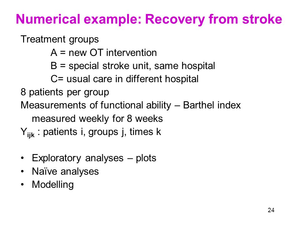 24 Numerical example: Recovery from stroke Treatment groups A = new OT intervention B = special stroke unit, same hospital C= usual care in different hospital 8 patients per group Measurements of functional ability – Barthel index measured weekly for 8 weeks Y ijk : patients i, groups j, times k Exploratory analyses – plots Naïve analyses Modelling