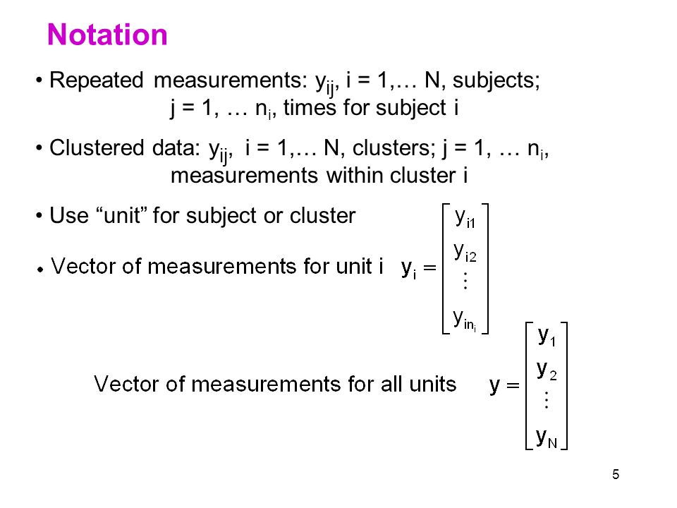 5 Notation Repeated measurements: y ij, i = 1,… N, subjects; j = 1, … n i, times for subject i Clustered data: y ij, i = 1,… N, clusters; j = 1, … n i, measurements within cluster i Use unit for subject or cluster