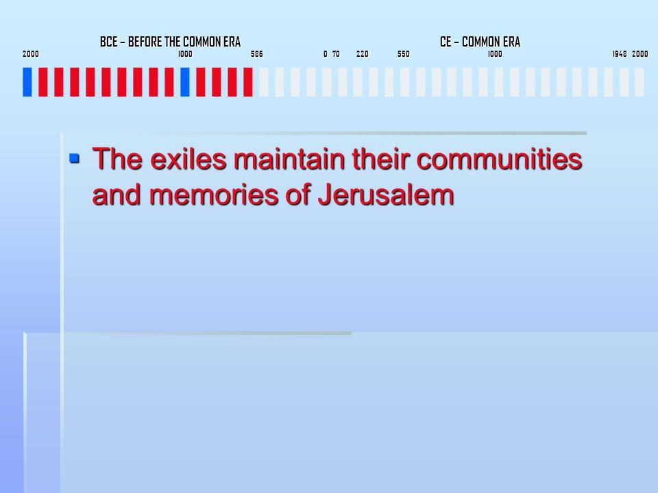 BCE – BEFORE THE COMMON ERA CE – COMMON ERA 2000 1000 586 0 70 220 550 1000 1948 2000 BCE – BEFORE THE COMMON ERA CE – COMMON ERA 2000 1000 586 0 70 220 550 1000 1948 2000 IIIIIIIIIIIIIIIIIIIIIIIIIIIIIIIIIIIIIIII  The exiles maintain their communities and memories of Jerusalem