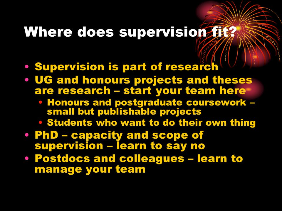 Where does supervision fit.