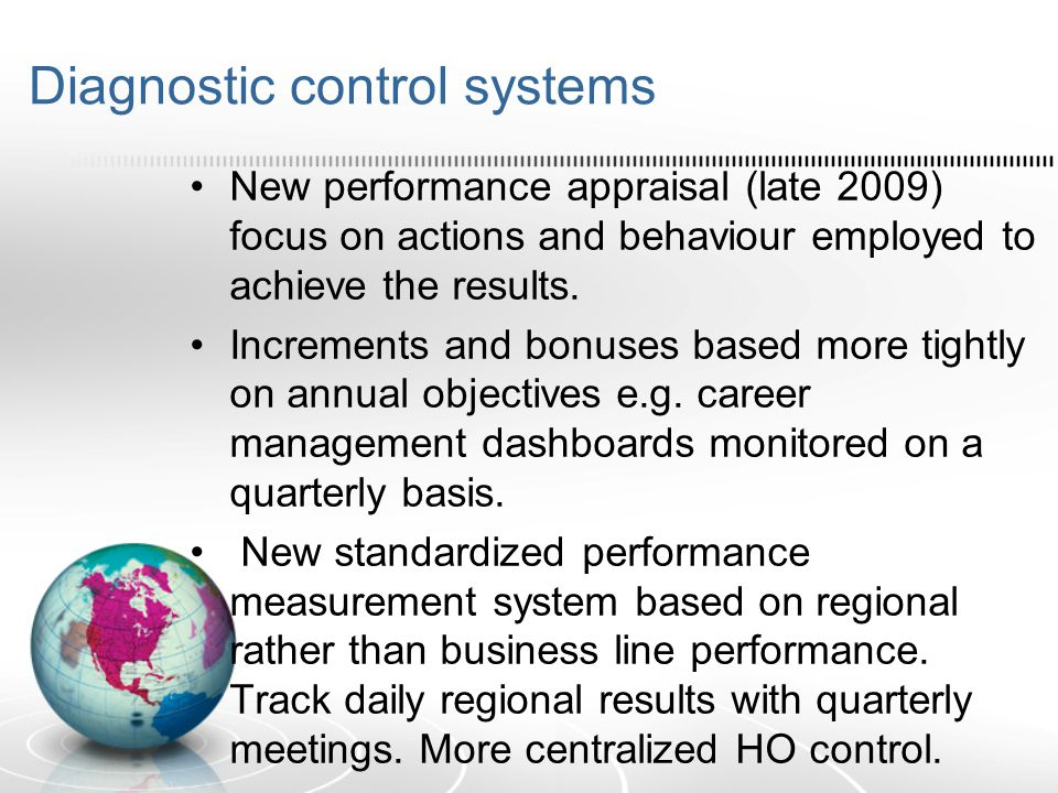 Diagnostic control systems New performance appraisal (late 2009) focus on actions and behaviour employed to achieve the results. Increments and bonuse
