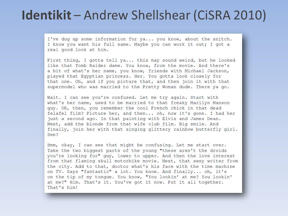 Identikit – Andrew Shellshear (CiSRA 2010)