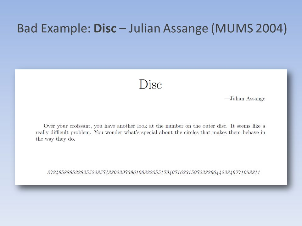 Bad Example: Disc – Julian Assange (MUMS 2004)