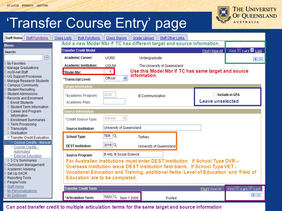 'Transfer Course Entry' page Use this Model Nbr if TC has same target and source information.