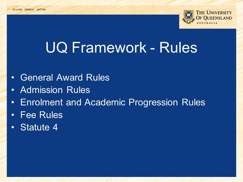 20 UQ Framework - Rules General Award Rules Admission Rules Enrolment and Academic Progression Rules Fee Rules Statute 4