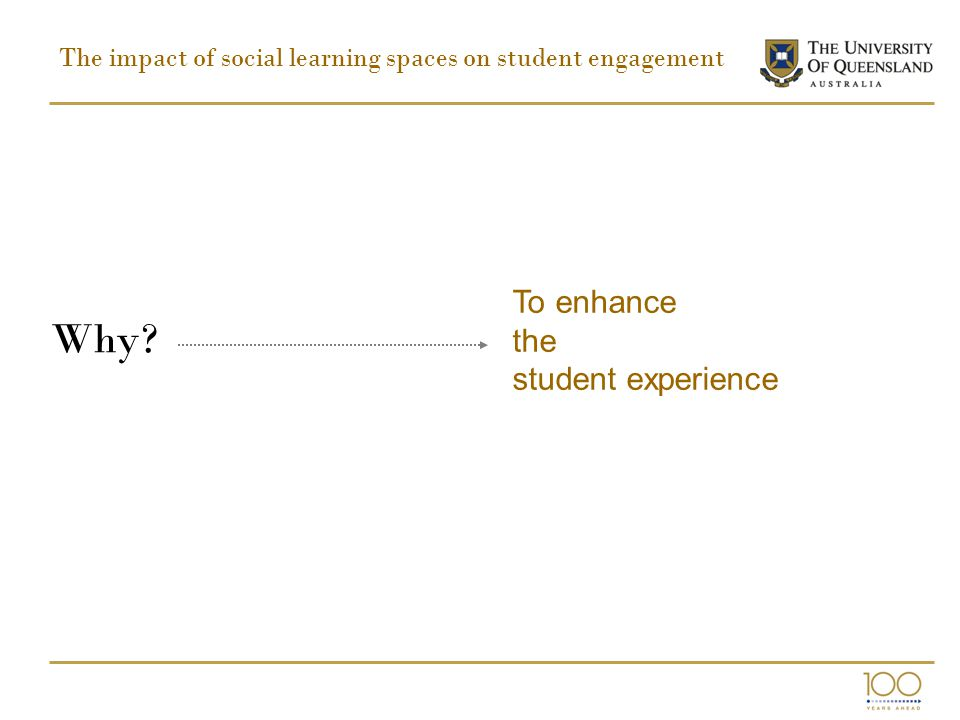 The impact of social learning spaces on student engagement Why? To enhance the student experience