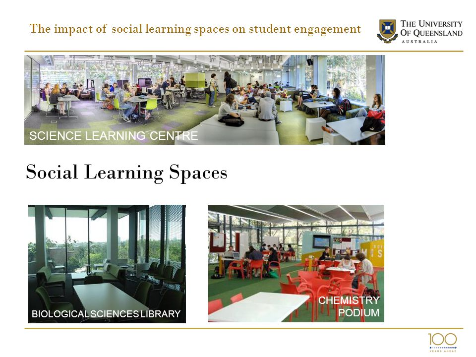 Social Learning Spaces SCIENCE LEARNING CENTRE BIOLOGICAL SCIENCES LIBRARY CHEMISTRY PODIUM The impact of social learning spaces on student engagement