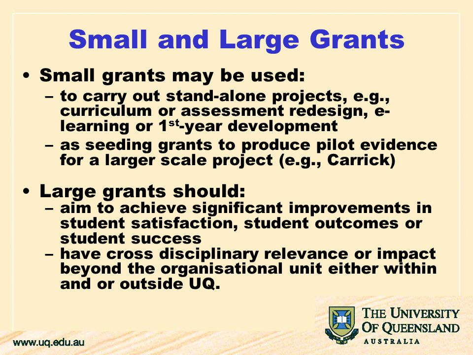 Small and Large Grants Small grants may be used: –to carry out stand-alone projects, e.g., curriculum or assessment redesign, e- learning or 1 st -year development –as seeding grants to produce pilot evidence for a larger scale project (e.g., Carrick) Large grants should: –aim to achieve significant improvements in student satisfaction, student outcomes or student success –have cross disciplinary relevance or impact beyond the organisational unit either within and or outside UQ.
