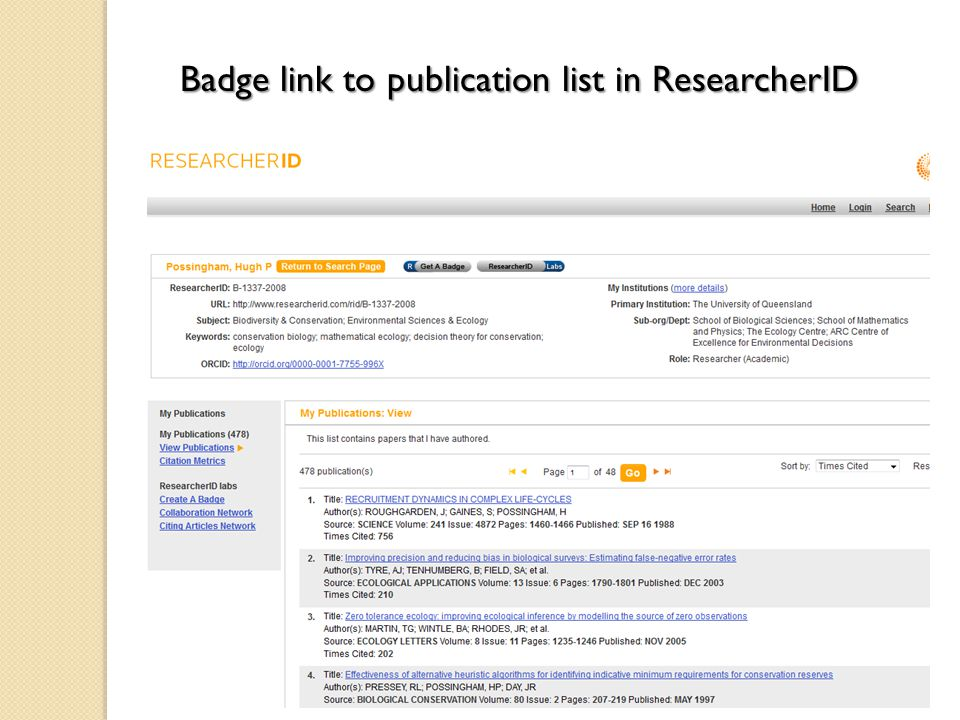 Badge link to publication list in ResearcherID