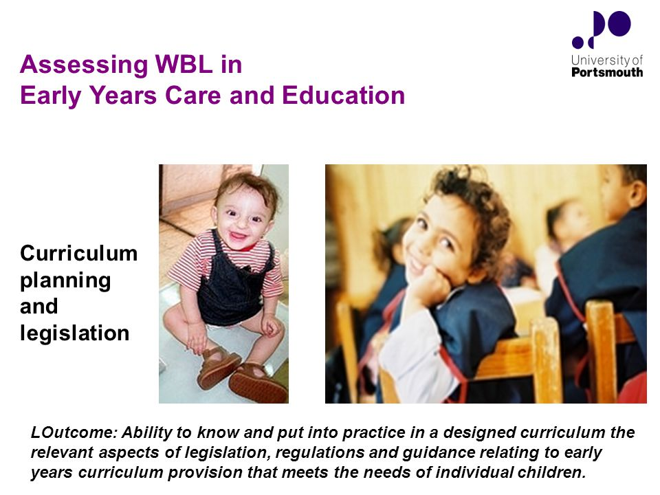 Curriculum planning and legislation LOutcome: Ability to know and put into practice in a designed curriculum the relevant aspects of legislation, regulations and guidance relating to early years curriculum provision that meets the needs of individual children.