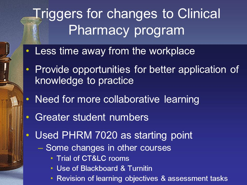 Triggers for changes to Clinical Pharmacy program Less time away from the workplace Provide opportunities for better application of knowledge to practice Need for more collaborative learning Greater student numbers Used PHRM 7020 as starting point –Some changes in other courses Trial of CT&LC rooms Use of Blackboard & Turnitin Revision of learning objectives & assessment tasks