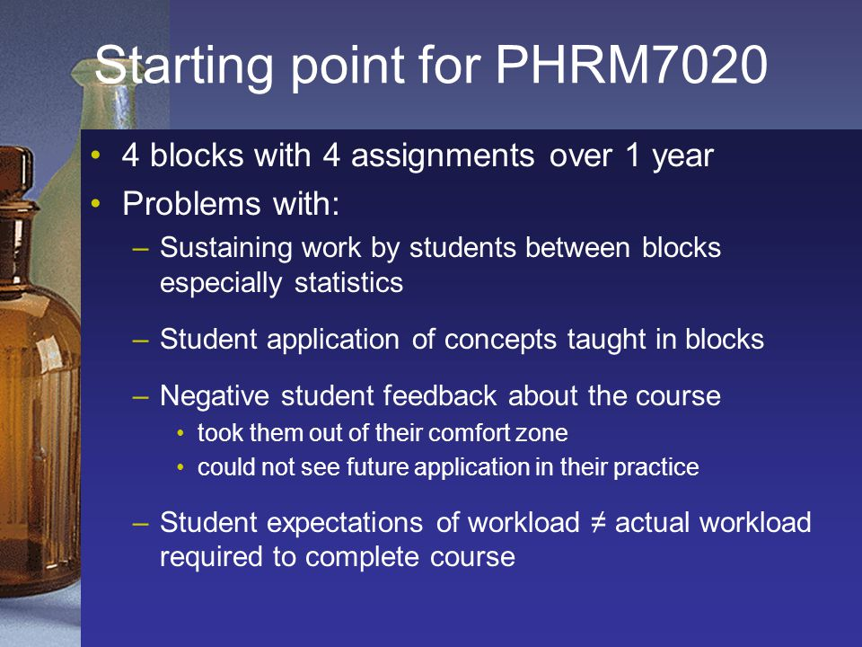 Starting point for PHRM7020 4 blocks with 4 assignments over 1 year Problems with: –Sustaining work by students between blocks especially statistics –